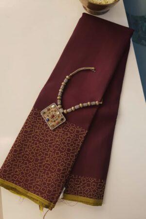 Brown kanchi silk saree