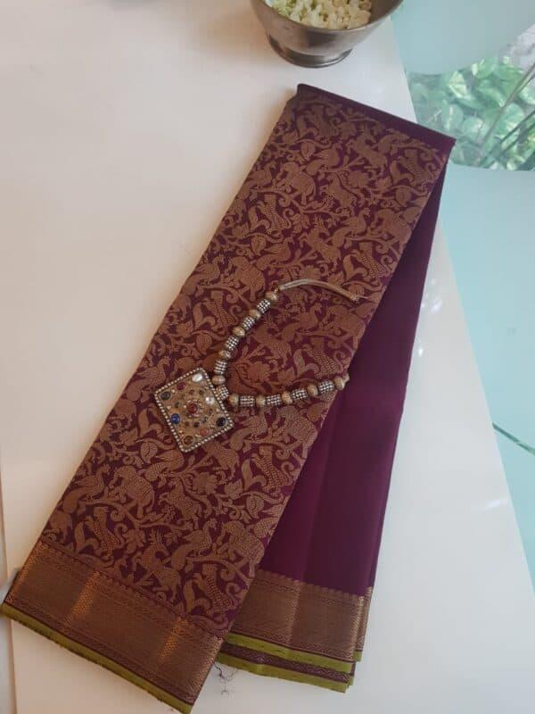 Brown vanasingaram kanchi silk saree