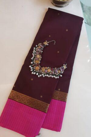 Brown with pink korvai border kanchi silk saree