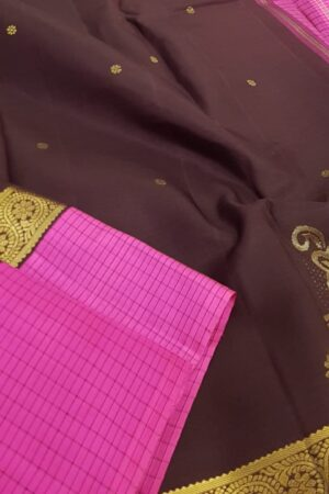 Brown with pink korvai border kanchi silk saree1