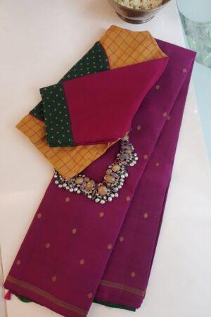 Dark pink kanchi silk saree