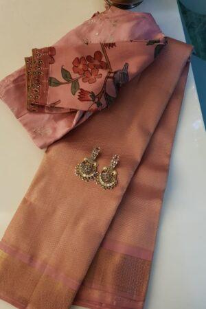 Dusty pink kanchipuram silk saree