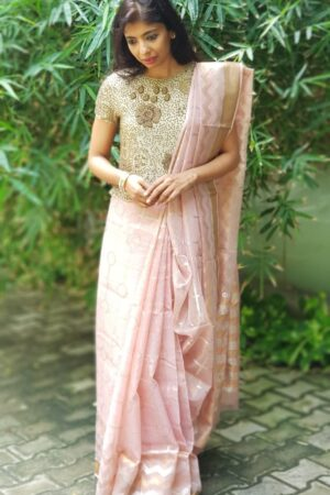 Dusty rose zari kota saree5