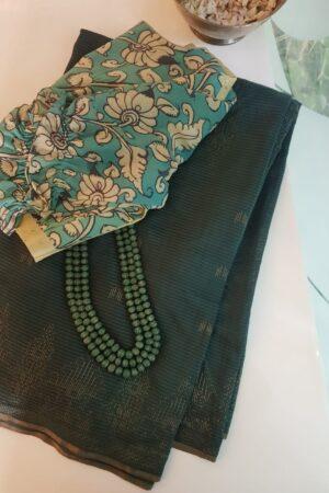 Green soy silk sari