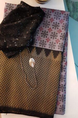 Grey and black printed silk with zari border
