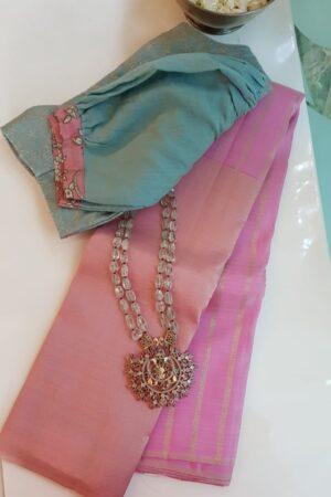 Light pink kanchi silk saree with bavanji border