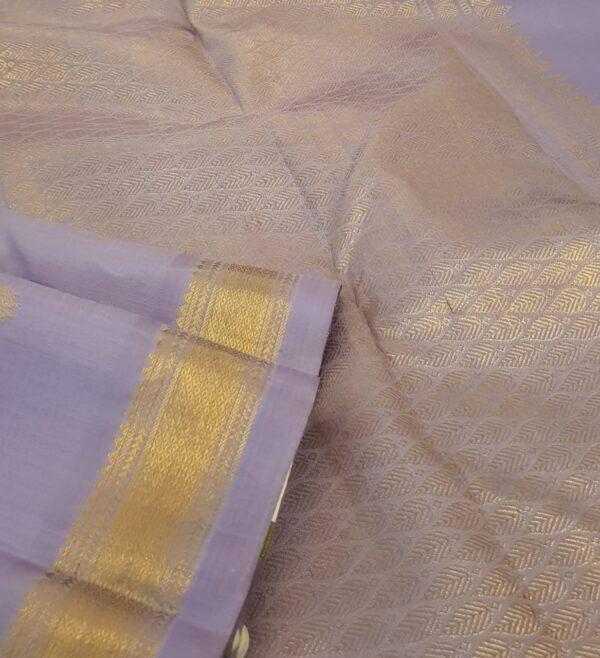 Lilac kanchipuram silk saree with buttis1