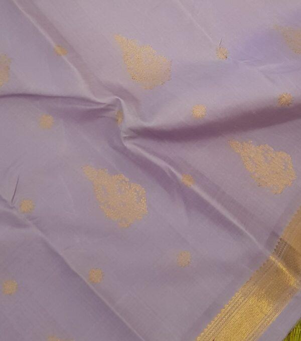 Lilac kanchipuram silk saree with buttis2