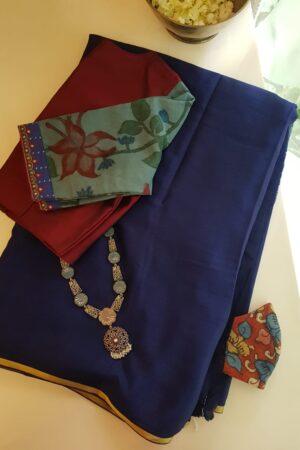 Navy blue wrinkle crepe saree