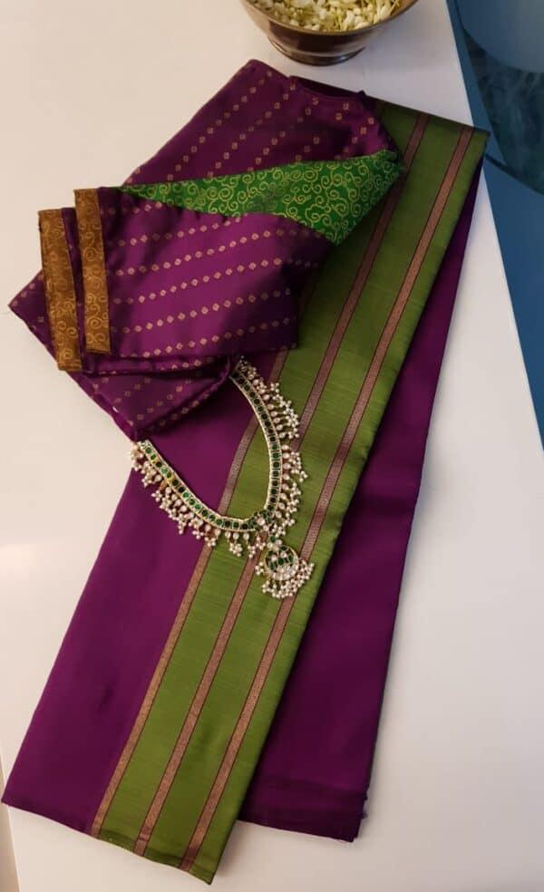 Olive green and dark pink partly pallu kanchipuram silk saree