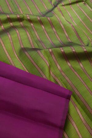 Olive green and dark pink partly pallu kanchipuram silk saree2