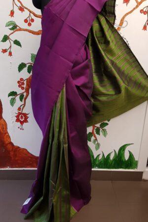 Olive green and dark pink partly pallu kanchipuram silk saree4