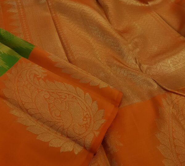 Olive green with orange mango border silk saree2
