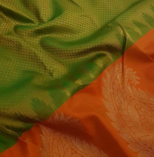 Olive green with orange mango border silk saree3
