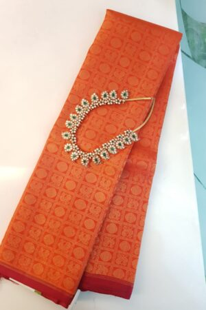 Orange brocade kanchipuram silk saree