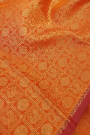 Orange brocade kanchipuram silk saree1