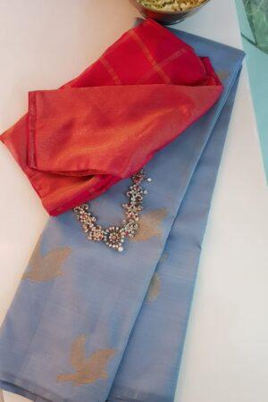 Pale blue kanchipuram silk saree with birds