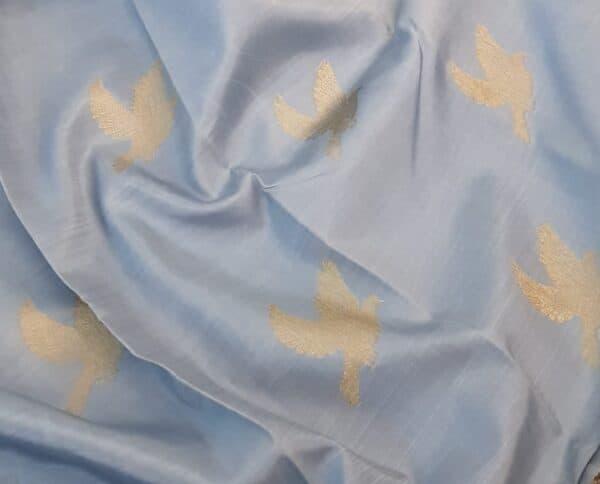 Pale blue kanchipuram silk saree with birds1