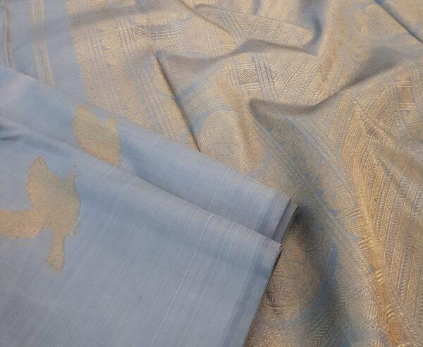 Pale blue kanchipuram silk saree with birds3