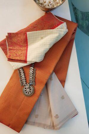 Peach and off white kanchipuram silk saree