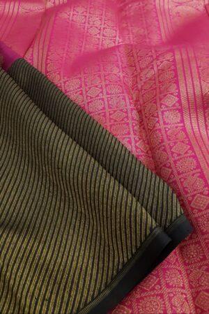 Pink and black kanchipuram silk saree3