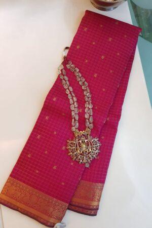 Pink kanchipuram silk saree with checks