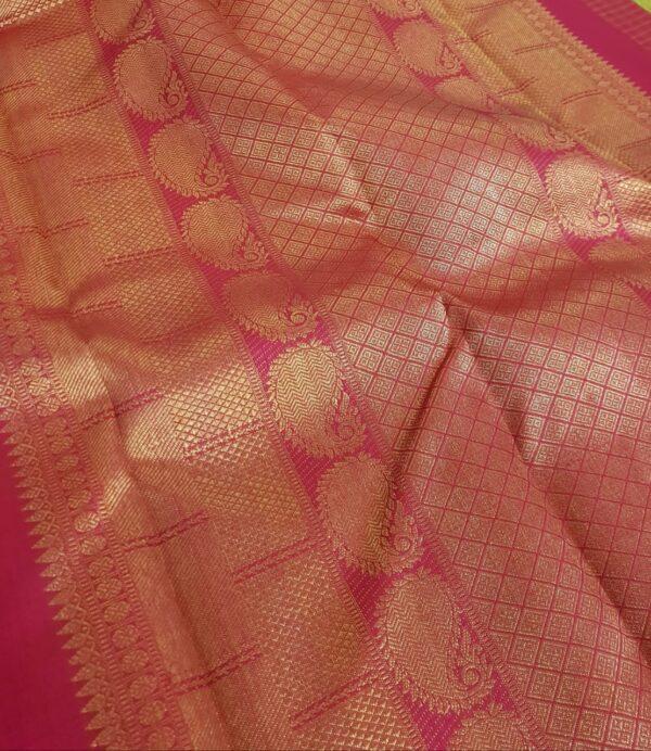 Pink kanchipuram silk saree with checks1