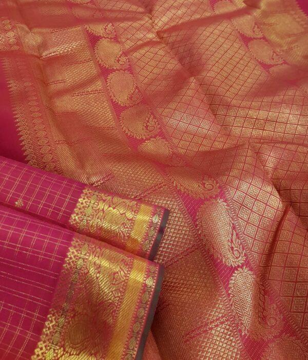 Pink kanchipuram silk saree with checks2