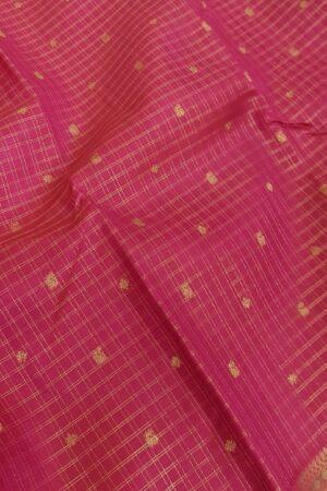 Pink kanchipuram silk saree with checks3