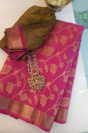 Pink real zari kota saree