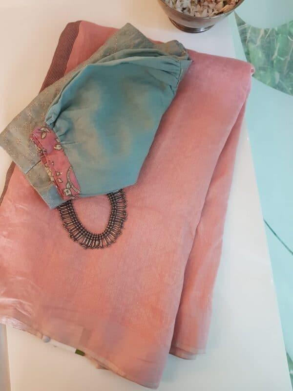 Pink soy silk saree
