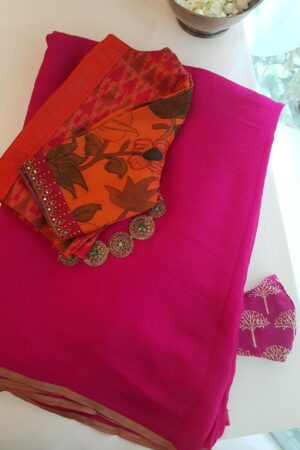 Pink wrinkle crepe saree1