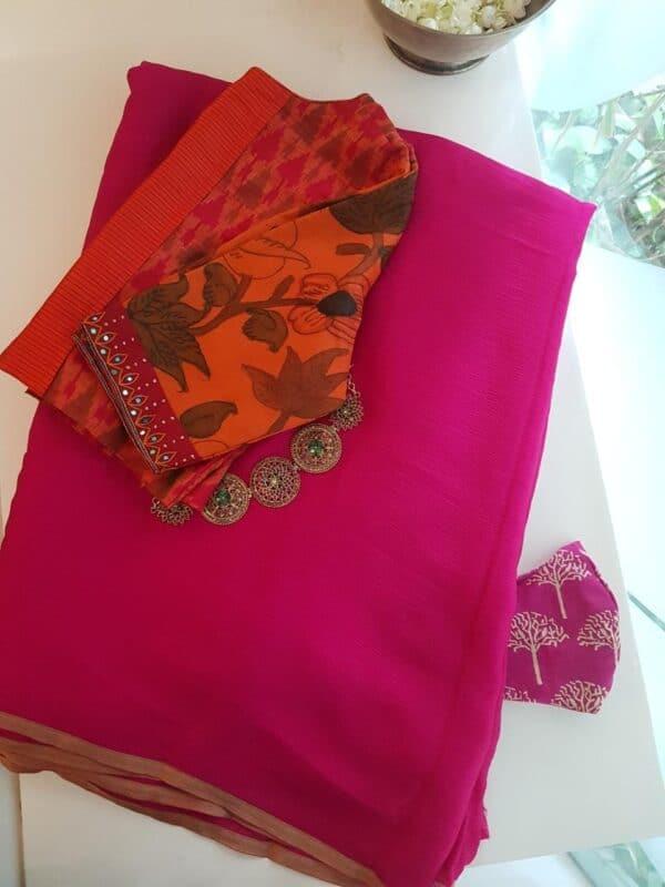Pink wrinkle crepe saree1