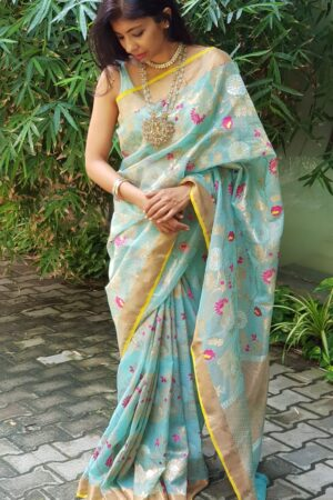 Sea blue zari kota saree