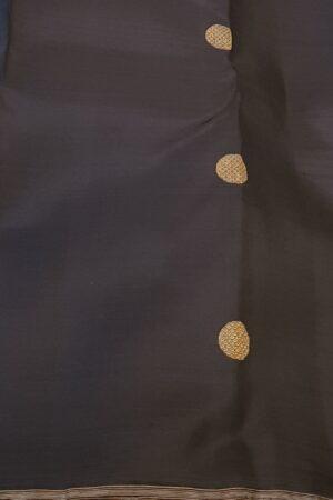 Teal green and black kanchi silk saree2