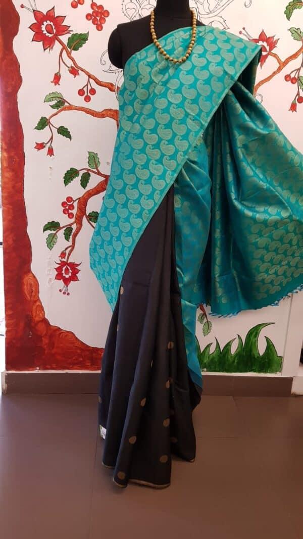 Teal green and black kanchi silk saree3