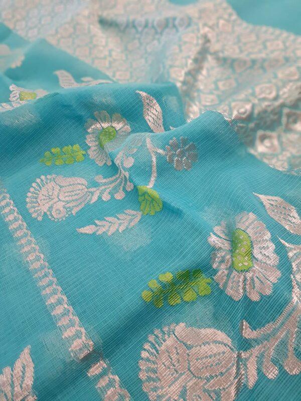 Turquoise blue silver zari kota saree1
