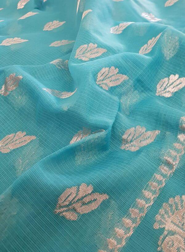 Turquoise blue silver zari kota saree2