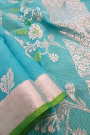 Turquoise blue silver zari kota saree3