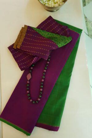 Violet and green half and half kanchipuram silk saree