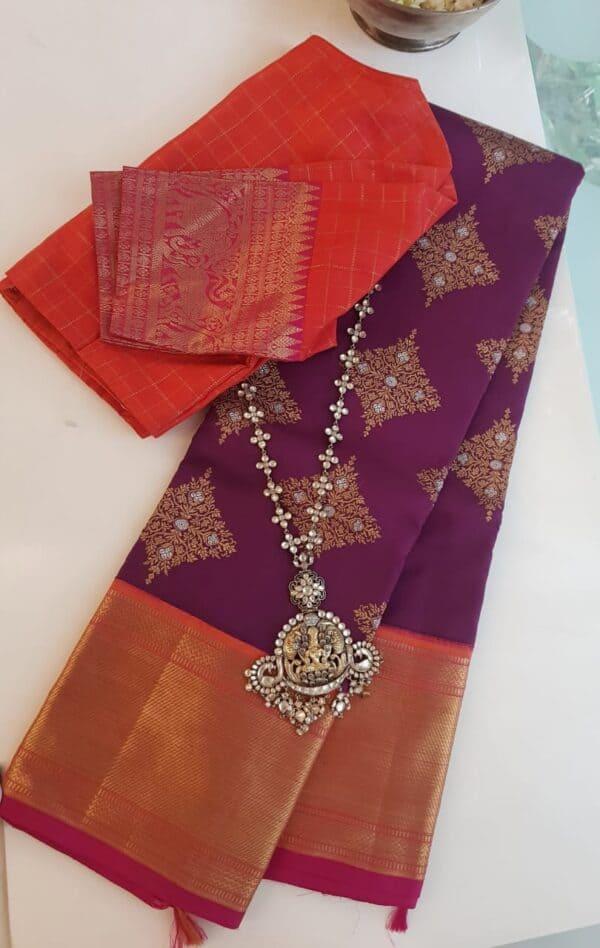 Violet heavy kanchi silk saree
