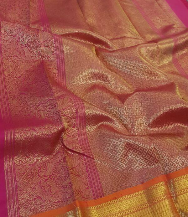 Violet heavy kanchi silk saree1