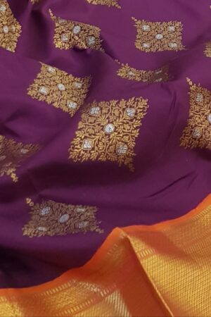 Violet heavy kanchi silk saree2
