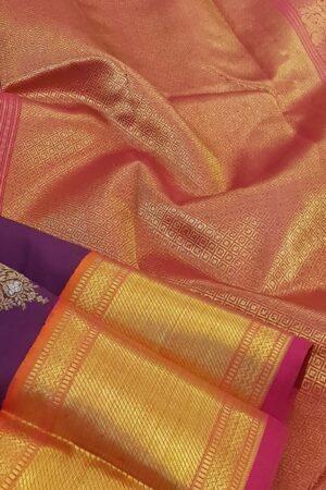 Violet heavy kanchi silk saree3