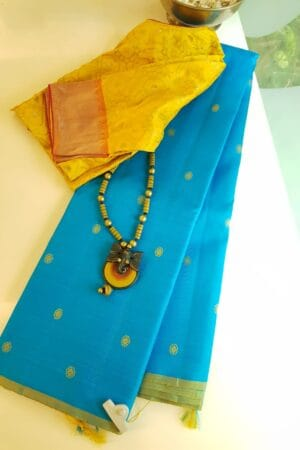 ananda blue with thread work