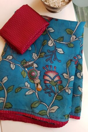 beach blue chiffon saree with kalamkari