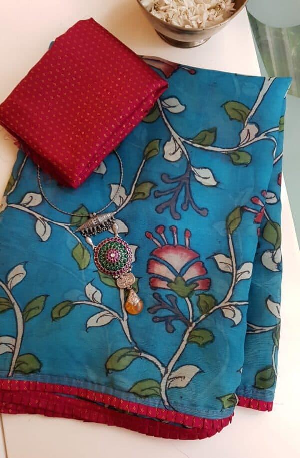 beach blue chiffon saree with kalamkari