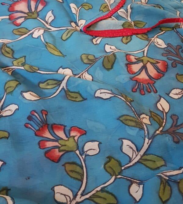 beach blue chiffon saree with kalamkari1