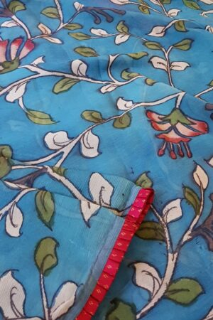 beach blue chiffon saree with kalamkari2