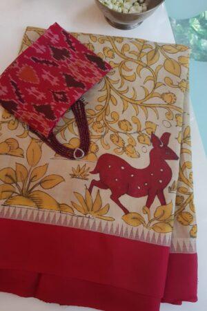 beige with red border cotton with silk border kalamkari